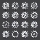 Uppsättning av lutningsilverkugghjulet för grafisk design för information Arkivfoto