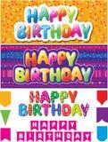 Uppsättning av lyckliga födelsedagtexter royaltyfri illustrationer