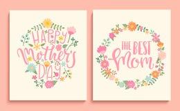Uppsättning av lyckliga kort för dag för moder` s royaltyfri illustrationer