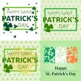 Uppsättning av lyckliga Sts Patrick kort för daghälsning Royaltyfri Fotografi