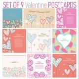 Uppsättning av 9 lyckliga valentindagkort stock illustrationer
