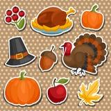 Uppsättning av lyckligt objekt för klistermärke för tacksägelseferie royaltyfri illustrationer