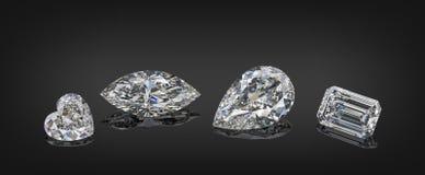 Uppsättning av lyxiga akromatiska genomskinliga mousserande gemstones av olik collage för snittformdiamanter som isoleras på svar fotografering för bildbyråer