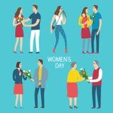 Uppsättning av män ge buketter av blommor till kvinnor Royaltyfri Bild