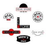 Uppsättning av mäns lagerlogoer och emblem med text Royaltyfri Bild