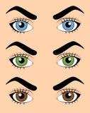 Uppsättning av mänskliga ögon stock illustrationer