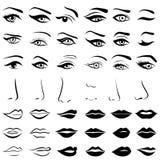 Uppsättning av mänskliga ögon, näsor och kanter stock illustrationer