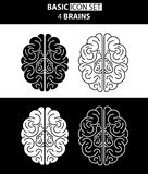 Uppsättning av mänskliga hjärnor för vit- och svartsymbol också vektor för coreldrawillustration Royaltyfria Bilder