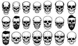 Uppsättning av mänskliga skalleillustrationer på vit bakgrund Planlägg beståndsdelen för etiketten, emblemet, tecknet, logoen, af royaltyfri illustrationer