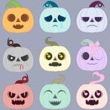 Uppsättning av mång--färgade halloween pumpor emotionell magisk hallowe vektor illustrationer