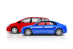 Uppsättning av mångfärgade bilar 3D Arkivbilder