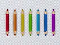 Uppsättning av mångfärgade blyertspennor på genomskinlig bakgrund, skolatillförsel, vektorillustration vektor illustrationer