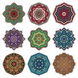 Uppsättning av mångfärgade mandalas Royaltyfri Foto