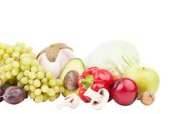 Uppsättning av mångfärgade nya rå grönsaker och frukter Fotografering för Bildbyråer