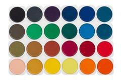 Uppsättning av mångfärgade vattenfärgmålarfärger Royaltyfri Foto