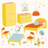 Uppsättning av möblemang för barnrum Lurar litet möblemang Säng, tabell med stolar för barn` s, garderob och bröstkorghand Arkivbilder
