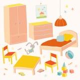 Uppsättning av möblemang för barnrum Lurar litet möblemang Säng, tabell med stolar för barn` s, garderob och bröstkorghand Arkivbild