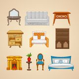 Uppsättning av möblemang för tio illustrationer för hem Arkivfoto