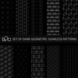 Uppsättning av mörka geometriska sömlösa modeller Royaltyfri Bild