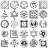 Uppsättning av magi- och alkemiSigils vektorer stock illustrationer