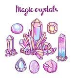 Uppsättning av magiska kristaller Juvelerareuppsättning royaltyfri illustrationer