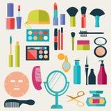 Uppsättning av makeup- och skönhetbeståndsdelmodell-illustrationen Arkivbilder