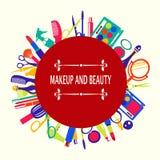 Uppsättning av makeup- och skönhetbeståndsdelmodell-illustrationen Royaltyfria Foton