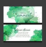 Uppsättning av mallar av horisontalbaner med gröna sidor royaltyfri illustrationer