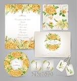 Uppsättning av mallar för beröm som gifta sig Gulna blommor royaltyfri illustrationer