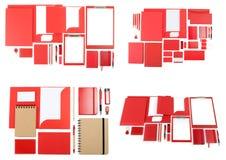 Uppsättning av mallar för företags identitet på vit Arkivbild