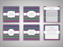 Uppsättning av mallar för främre och tillbaka sida för vektorbroschyr i abstrakt stil Royaltyfria Bilder