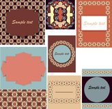 Uppsättning av mallar för kort, bröllop, födelsedaginbjudningar med orange Vektor Illustrationer