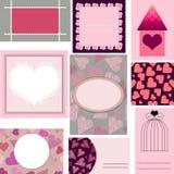 Uppsättning av mallar för kort, bröllop, valentindag, födelsedaginvit Stock Illustrationer