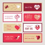 Uppsättning av mallar för kort för valentindaghälsning Royaltyfri Bild