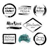 Uppsättning av mallar för logo för design för makeupkonstnär royaltyfri illustrationer