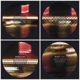 Uppsättning av 4 mallar för musikalbumräkning royaltyfri illustrationer