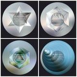 Uppsättning av 4 mallar för musikalbumräkning Abstrakt begrepp royaltyfri illustrationer