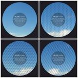 Uppsättning av 4 mallar för musikalbumräkning Blått molnigt stock illustrationer