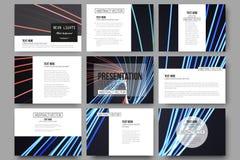 Uppsättning av 9 mallar för presentationsglidbanor Abstrakt begrepp fodrar bakgrund, illustration för rörelsedesignvektor Royaltyfri Fotografi