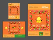 Uppsättning av mallar för restaurang vektor illustrationer