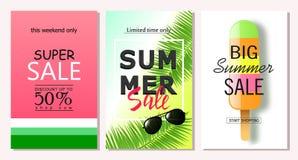 Uppsättning av mallar för sommarförsäljningsbaner Vektorillustrationer för website- och mobilwebsitebaner, affischer, emailen och Arkivbild