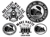 Uppsättning av mallar med den retro lokomotivet, vagn, tappningdrev, logotyp, illustration till ämnejärnväg royaltyfri illustrationer