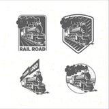 Uppsättning av mallar med en lokomotiv Tappningdrev, logotyper, illustrationer royaltyfri illustrationer