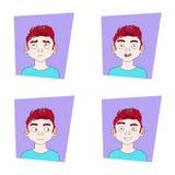 Uppsättning av manansiktsuttrycksamlingen av Guy Different Emotions Icons Arkivfoton