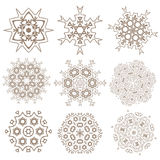 Uppsättning av mandalas Etniska dekorativa beståndsdelar Islam arabiska, Indi Arkivfoto