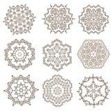 Uppsättning av mandalas Etniska dekorativa beståndsdelar Islam arabiska, Indi Arkivfoton