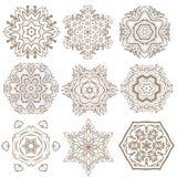 Uppsättning av mandalas Etniska dekorativa beståndsdelar Islam arabiska, Indi Arkivbild