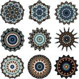 Uppsättning av mandalas i turkisk stil stock illustrationer