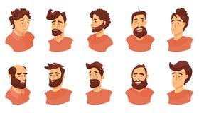 Uppsättning av manliga ansikts- sinnesrörelser emojitecken för ung man med olika uttryck Vektorillustration i tecknad filmstil stock illustrationer