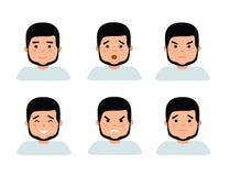 Uppsättning av manliga ansikts- sinnesrörelser Skäggigt manemojitecken med olika uttryck Royaltyfri Foto